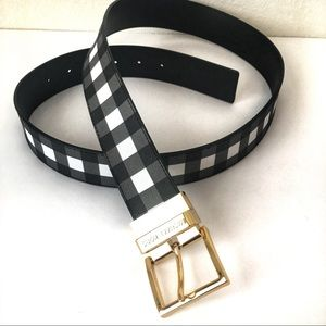 Michael Kors Black Gingham Reversible Belt NWT